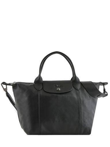 Longchamp Le pliage cuir Sac porté main Noir