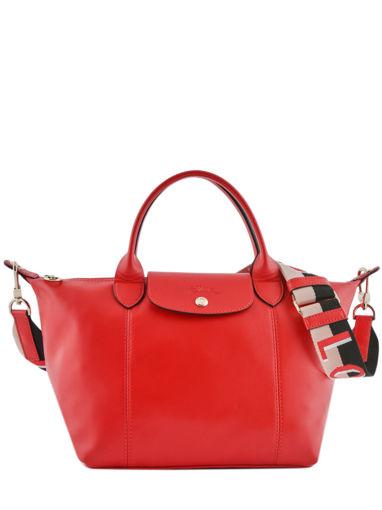 Longchamp Le pliage cuir webbing Sac porté main Rouge