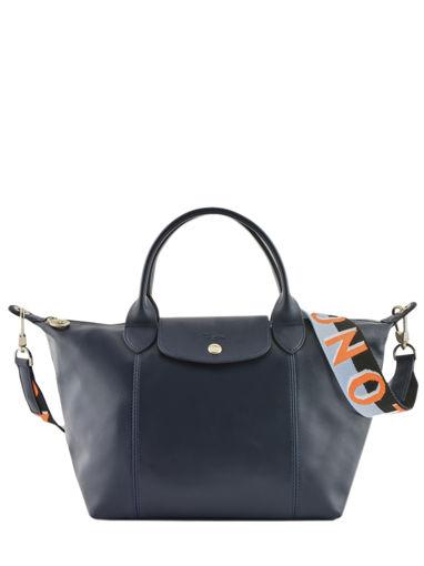 Longchamp Le pliage cuir webbing Sac porté main Bleu