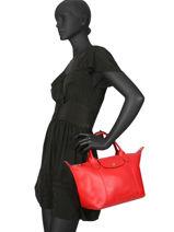 Longchamp Le pliage cuir webbing Handtas Rood-vue-porte