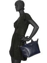 Longchamp Le pliage cuir webbing Sac porté main Bleu-vue-porte