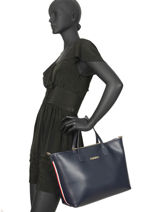 Handtas Iconic Tommy A4 Formaat Tommy hilfiger Blauw iconic tommy AW07478-vue-porte