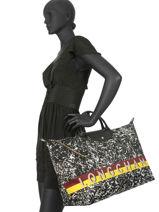 Longchamp Le pliage appaloosa Sac de voyage Noir-vue-porte