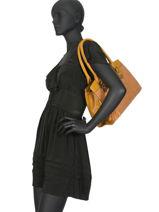 Sac Shopping Croco Pompon Miniprix Jaune new basic R1501-1-vue-porte