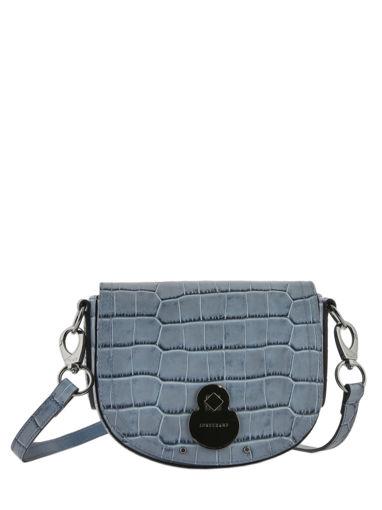 Longchamp Cavalcade croco Sac porté travers Bleu