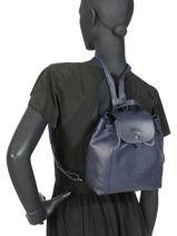 Longchamp Le pliage cuir Sac à dos Rose-vue-porte