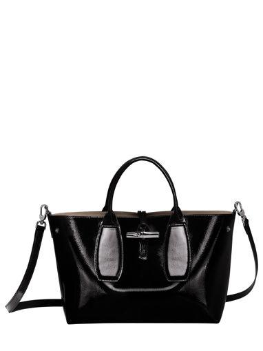Longchamp Roseau vernis Sac porté main Noir