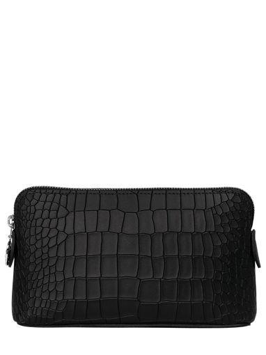 Longchamp Le pliage cuir croco Pochette Noir