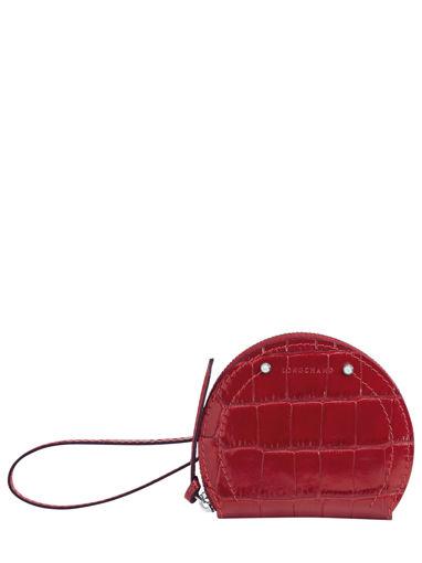 Longchamp Cavalcade croco Porte monnaie Rouge