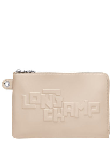 Longchamp Le pliage animation cuir estam Clutch Beige