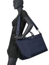 Longchamp Le pliage neo Sac de voyage Bleu-vue-porte