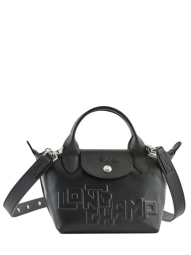 Longchamp Le pliage animation cuir estam Sac porté main Noir