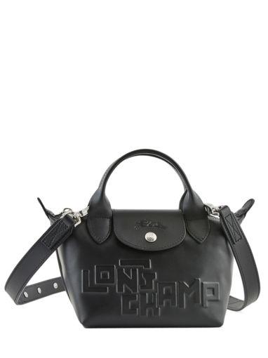 Longchamp Le pliage animation cuir estam Handtas Zwart