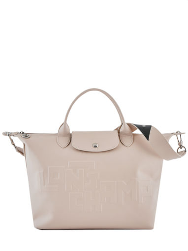 Longchamp Le pliage animation cuir estam Sac porté main Beige