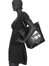 Sac Cabas K Ikonik Cuir Karl lagerfeld Noir k ikonic 201W3057-vue-porte