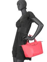 Longchamp Le pliage cuir Handtas Rood-vue-porte