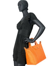 Longchamp Le pliage cuir Handtas Zwart-vue-porte