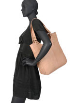 Sac Shopping Cow Cuir Basilic pepper Rose cow BCOW20-vue-porte
