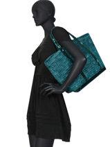 Le Cabas Moyen+ Raphia Paillettes Vanessa bruno Bleu cabas raphia 65V40414-vue-porte