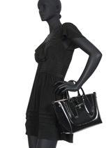 Longchamp Roseau vernis Handtas Zwart-vue-porte