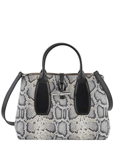 Longchamp Roseau python Handtas Zwart