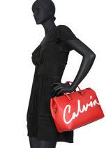 Handtas Denim Signature Calvin klein jeans Rood denim K606575-vue-porte