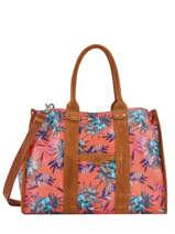 Shoppingtas A4 Formaat Palm Raffia Mila louise Roze palm 23691PLM