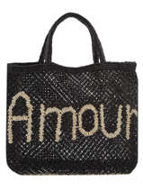 "Sac Cabas ""amour"" Format A4 Paille The jacksons Noir word bag S-AMOUR"