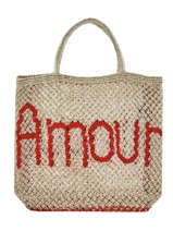 "Shoppingtas ""amour"" Van Jute The jacksons Beige word bag S-AMOUR"