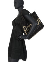 "Sac Cabas ""amour"" Format A4 Paille The jacksons Noir word bag S-AMOUR-vue-porte"