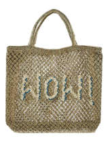 """Sac Cabas """"wow!"""" Format A4 Paille The jacksons Vert word bag S-WOW"""