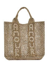 """Sac Shopping """"amour"""" Format A4 Paille The jacksons Vert tessa T-AMOUR"""