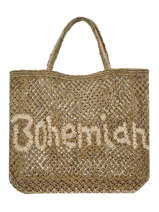"Sac Cabas ""bohemian"" Format A4 Paille The jacksons Vert word bag S-BOHEMI"