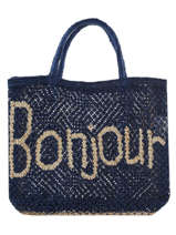 "Sac Shopping ""bonjour"" Format A4 Paille The jacksons Bleu word bag S-BONJOU"