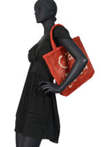 "Sac Cabas ""ciao Bella"" Format A4 Paille The jacksons Rouge word bag S-CIAOBE-vue-porte"