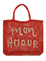 "Sac  Cabas ""mon Amour"" Format A4 Paille The jacksons Rouge word bag S-MONAMO"