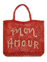 "Shoppingtas ""mon Amour"" Van Jute The jacksons Rood word bag S-MONAMO"