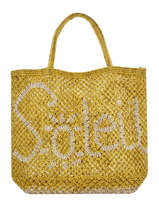 "Sac Cabas ""soleil"" Format A4 Paille The jacksons Jaune word bag S-SOLEIL"