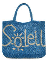 "Sac Shopping ""soleil"" Format A4 Paille The jacksons Bleu word bag S-SOLEIL"