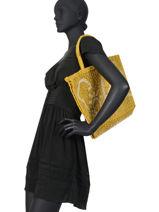 """Sac Cabas """"soleil"""" Format A4 Paille The jacksons Jaune word bag S-SOLEIL-vue-porte"""