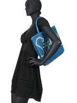 """Sac Cabas """"soleil"""" Format A4 Paille The jacksons Bleu word bag S-SOLEIL-vue-porte"""