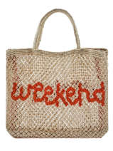 "Sac Cabas ""weekend"" Format A4 Paille The jacksons Beige word bag S-WEEKEN"