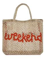 """Shoppingtas """"weekend"""" Van Jute The jacksons Beige word bag S-WEEKEN"""
