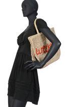 """Shoppingtas """"weekend"""" Van Jute The jacksons Beige word bag S-WEEKEN-vue-porte"""
