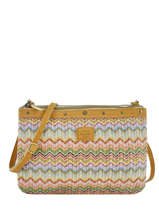 Cross Body Tas Wave Raffia Mila louise Geel wave 23665PW2