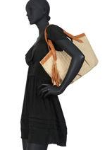 Sac Shopping Wave Raphia Mila louise Marron wave 23684PW2-vue-porte