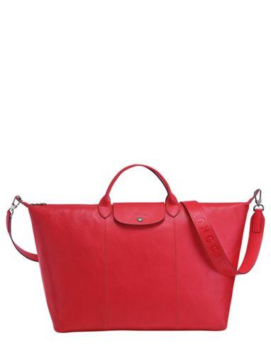 Longchamp Le pliage cuir Sac de voyage Rouge