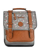 Sac A Dos 2 Compartiments Cameleon Grijs vintage print girl PBVGSD38
