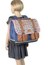 Cartable Fille 3 Compartiments Cameleon Multicolore vintage print girl VIG-CA41-vue-porte
