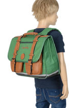 Cartable Enfant 2 Compartiments Cameleon Vert vintage chine VIN-CA38-vue-porte